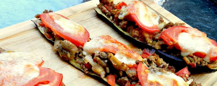 Gevulde aubergines met rundergehakt en mozzarella